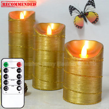battery operated moving flame wick led candle with timer