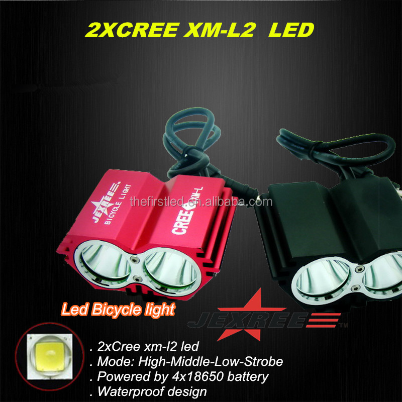 JEXREE 2xCree XM-L2 Led rechargeable led led <strong>bike</strong> light mountain <strong>bike</strong> light