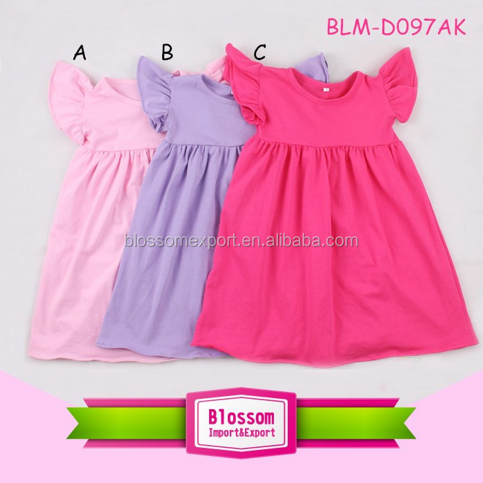 2017 Latest design Long Sleeve Baby Cotton Frocks Design With Ruffle Baby Girl Party Dress