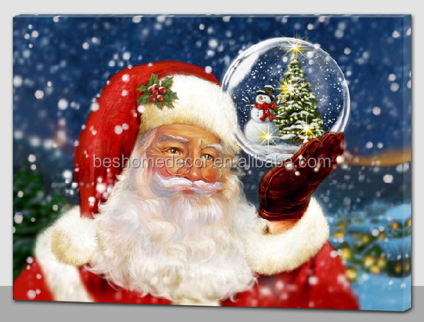 led christmas canvas,Indoor Christmas Decoration Fiber optic Santa Claus Christmas wall art