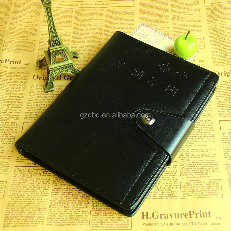 custom PU leather agenda/leather planner/leather cover notebook with magnetic clasp closure
