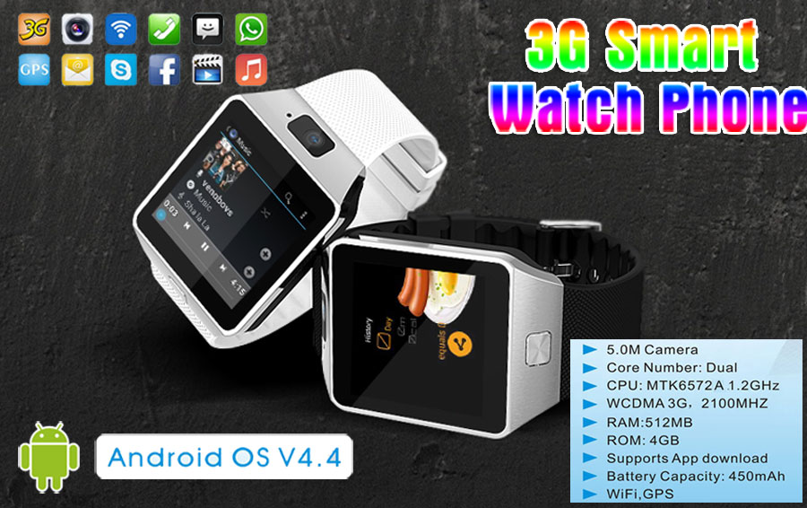 5.0MP HD camera Android 4.4 OS 3G smart watch with wifi and GPS