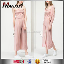 2017 Fashion Girls Style Sexy Ladies Halter Style Jumpsuits With Wide Leg Pants Three Pieces Set In Pink Jumpsuit