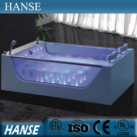 HS-B227 beautiful acrylic free stand glass side jet whirlpool bath tub