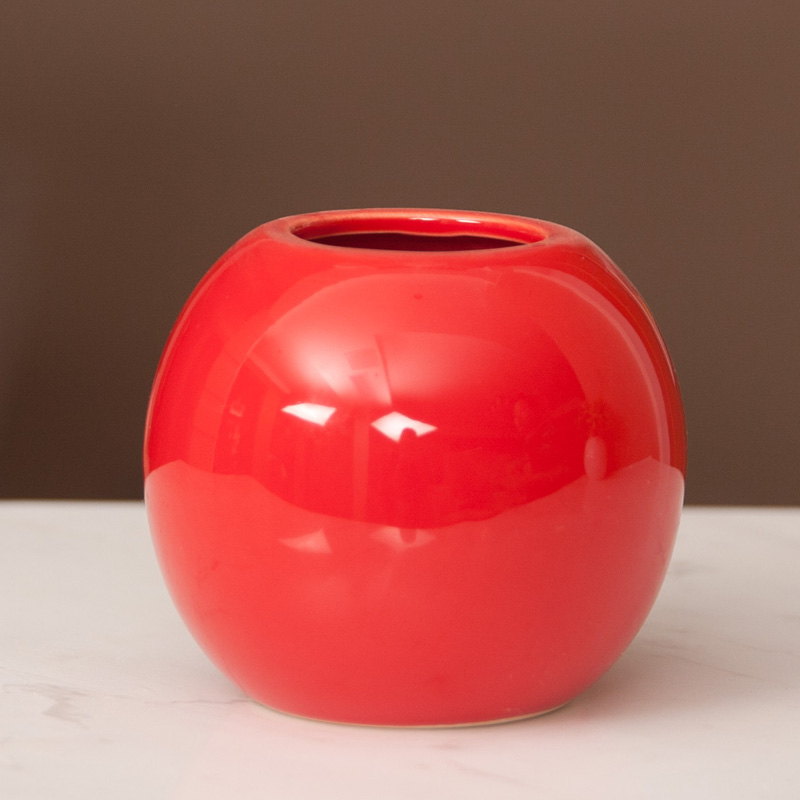 Hot sell wholesale small red ceramic vase for desk deco