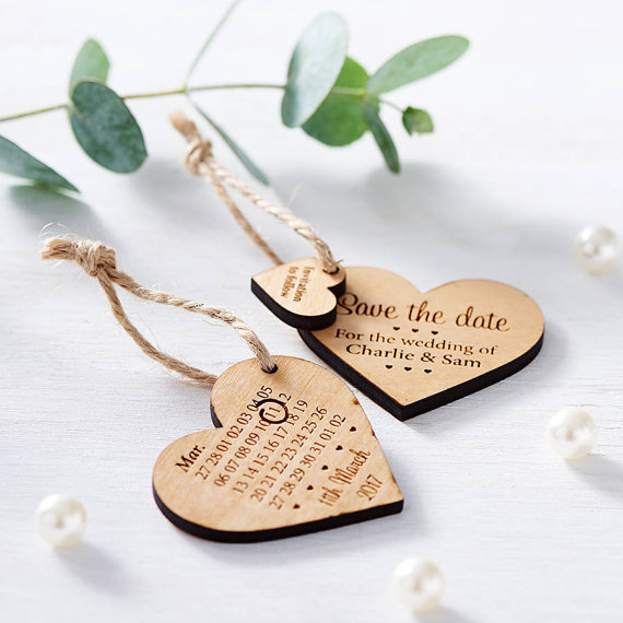 Wooden save the date magnets, Love Heart wedding save the dates, custom engraved magnets