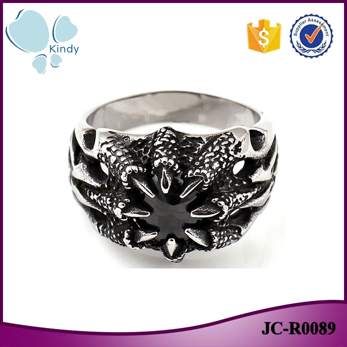 Kindy Jewelry 2016 hot sale antiallergic 316l stainless steel black rhinestone claw ring