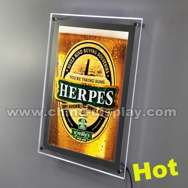 2017 advertising custom wall acrylic signage acrylic led display for beer