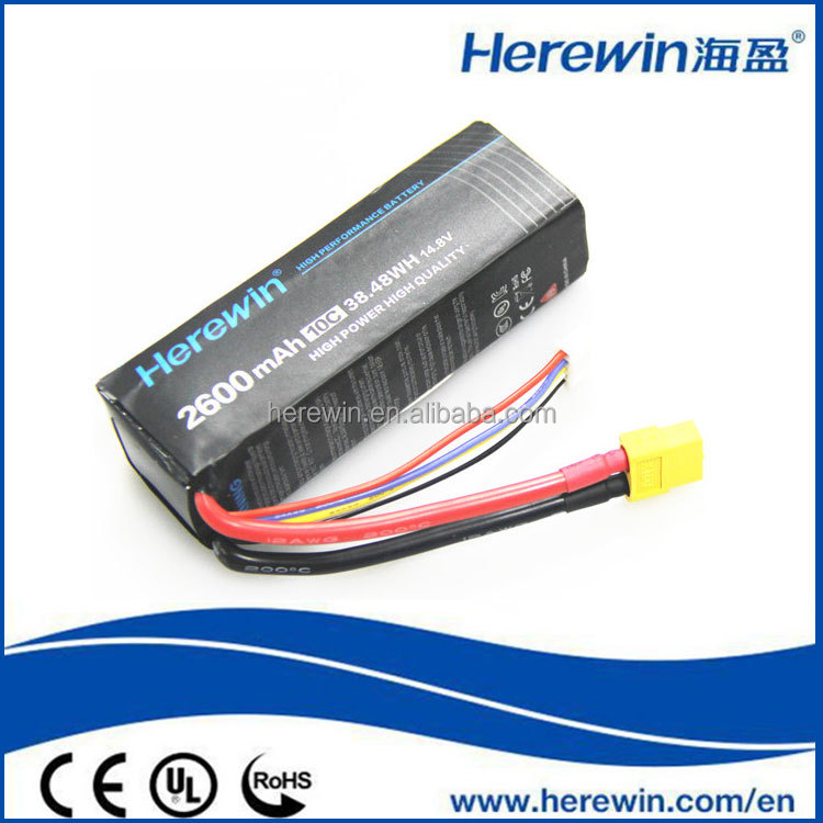 Wholesale shenzhen high discharge rate 2600mah 4S 10C 14.8v rc lipo battery
