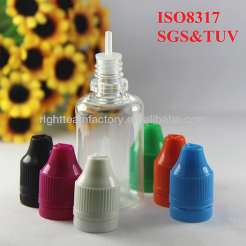 ISO 8317/SGS/TUV certificatee liking e liquid ,eye dropper bottles with childproof tamperproof cap