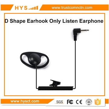 HYS 3.5mm Jack Only listen Single speaker D shape earhook