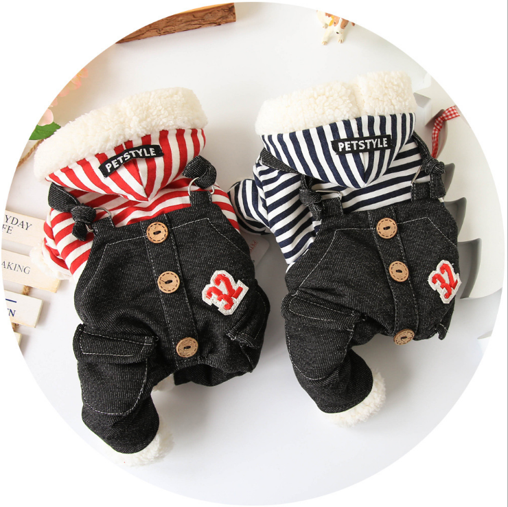 Pet autumn and winter thickening clothes cowboy pattern striped legs pet clothes dog clothes