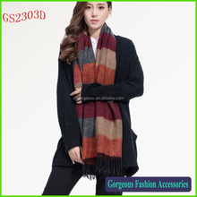 2016 Famous hot selling cashmere feel stripe scarf shawl wholesale