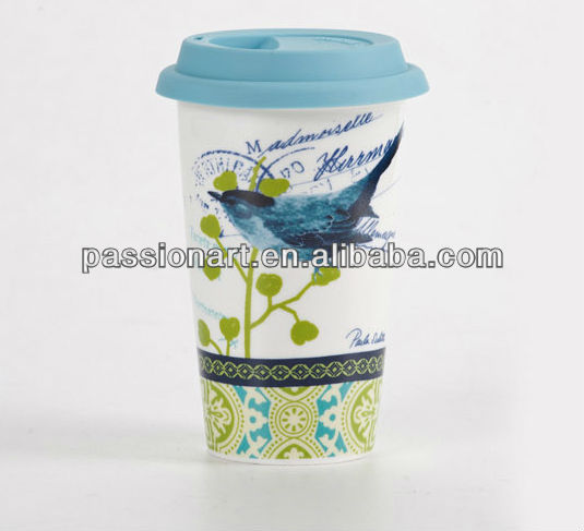 Reused with silicone lid porcelain insulated mug