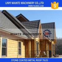 Linyi Wante Snocap and SGS certificate stone coated metal roof tiles with 70 years service life