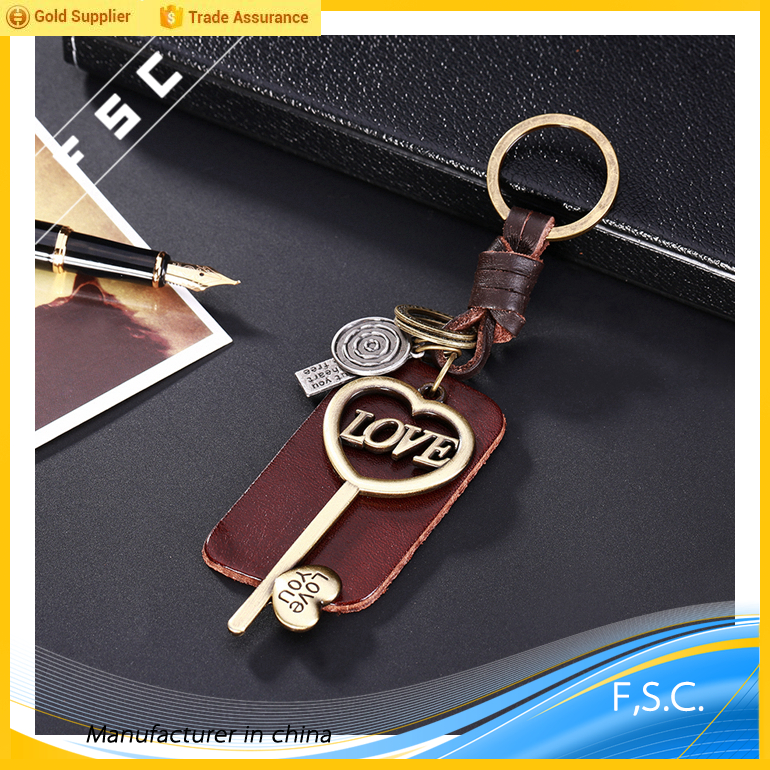 High quality letter love key chain engraved zinc alloy bronze key shape keyring