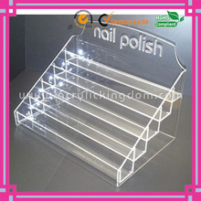 5 tiers ladder shaped clear opi acrylic nail polish display stand with logo manufacturer