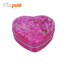 printed valentine's day heart shaped tin cans