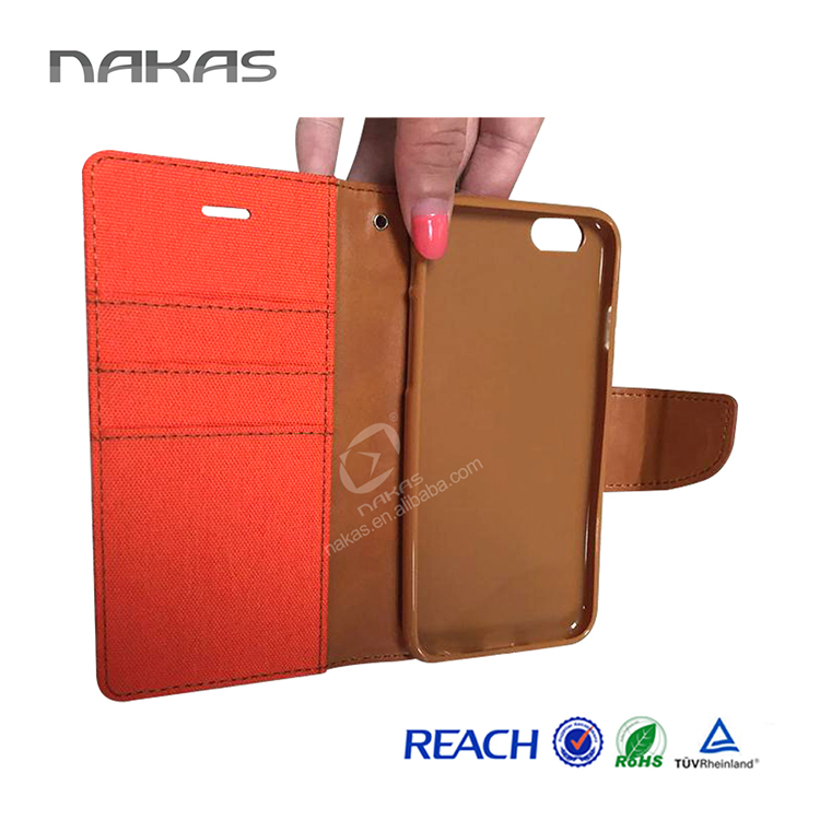 Wholesale leather phone case, wallet case for iphone 6
