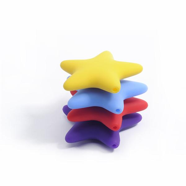 Charming Star Shaped Silicone Soft Baby Beads Silicone Jewelry Beads For Teething