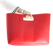 Factory cheap price big capacity red felt shopping bag with phone pouch for woman