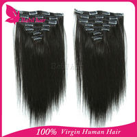 Factory wholesale 6A unprocessed clip-in yaki human hair extension 8-30 inches in stock