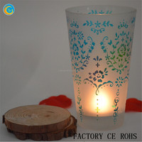 Online Frosted Votive Holder / Flowers Glass Hurricane / Glass Vase For Wedding & Home