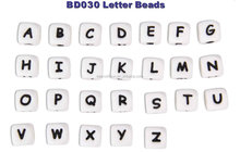 Food Grade Silicone Cube Bead with alphabet on