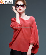 Chiffon pleated casual PLEATED sexy skater blouses plus size WOMAN CLOTHES