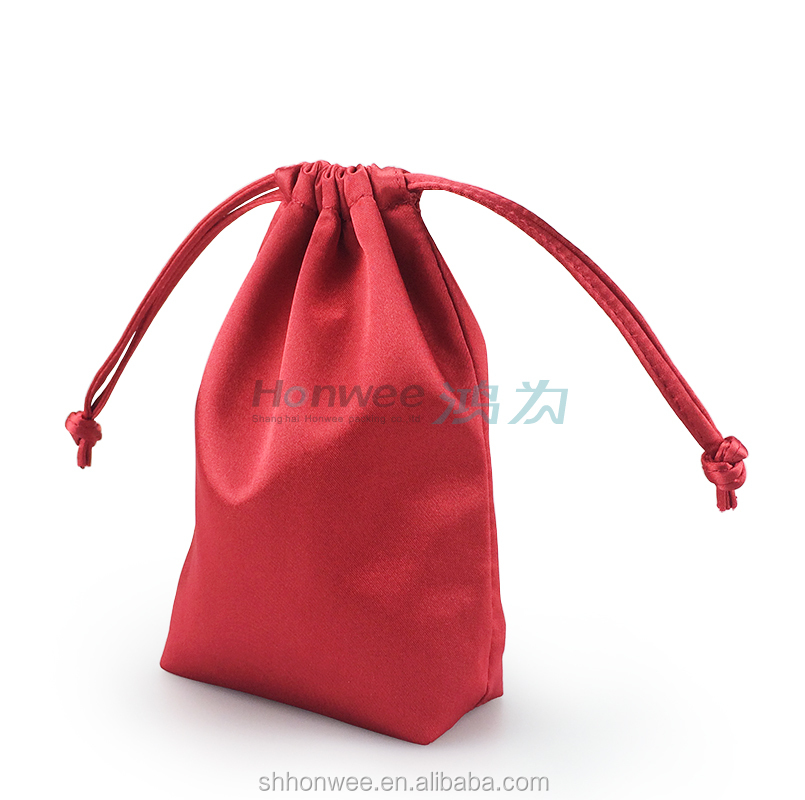 Red Satin Laminated Stitching Drawstring Gift Pouch