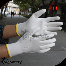 SRSAFETY 13g white polyester palm coated PU appliance work glove
