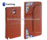 Shiny design crocodile leather case for samsung note 3 zipper case/leather case with zipper for note 3 n9000