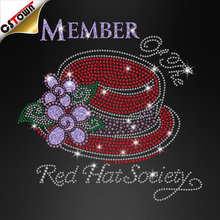 Red hat rhinestone iron on transfers motif member of the red hat society