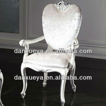 white lacquer wood fabric dinning chair