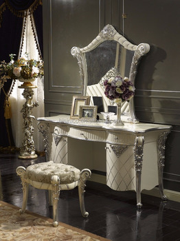 Silver and White Antique Vanity Dresser Table with Mirror, French Classic Dressing Table and Mirror