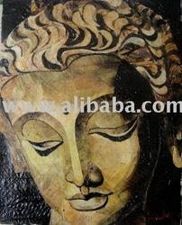 Buddha painting made of natural leaves