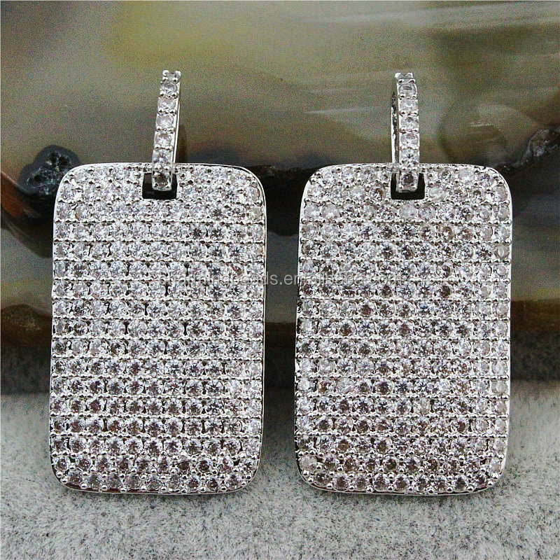 CH-MAC0170 Jewelry CZ pave micro beads charms,Hot sale CZ tags pendant,silver plated CZ pendant charms wholesale square pendant