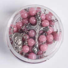Popular Religious Gift Transparant Round Shape Box Saint Picture YIWU Rosary Necklace Boxes