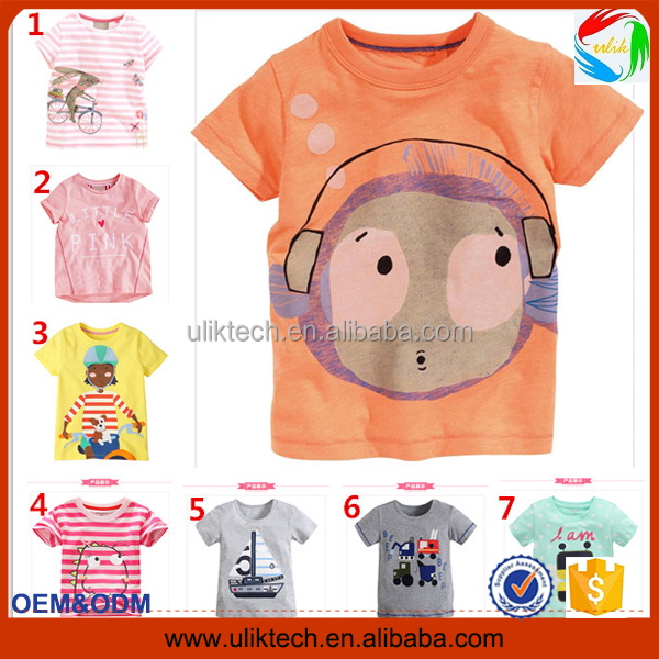 2016 Manufacturer new fashion cheap t shirt printing for summer plain child t shirt wholesale cotton kid t shirt (ulik-ST130)
