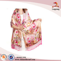 Digital Printed Wrap Floral Dress With Glitter Shawl, Evening Gown With Shawl