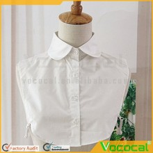 Women Lady Detachable Collapsible Occupational Half Shirt Blouse Fake Square Lapel Collar White