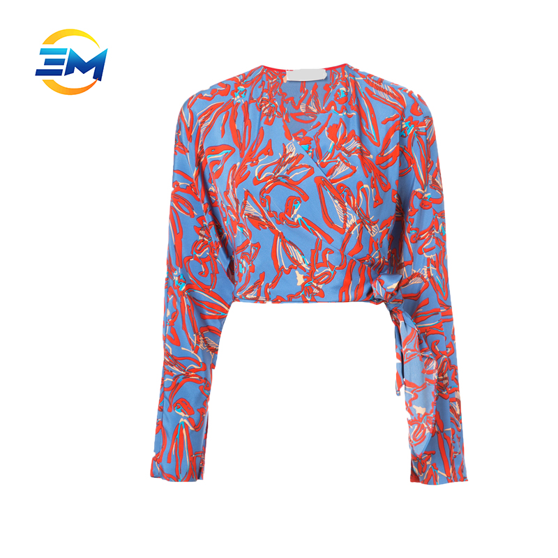 Wholesale new fashion long sleeve 100% silk women wrap blouse floral print tie side crop top