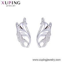 94802 xuping jewelry manufacturer China wholesale rhodium gold plated hoop earring with copper alloy