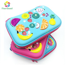 Fashion stationary EVA Hard 3D Embossed Fruit Pattern Large School Pencil Case / Pencil Box