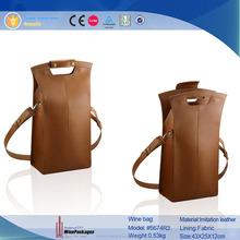 Christmas imitation leather 2 bottle wine bag with patch handle