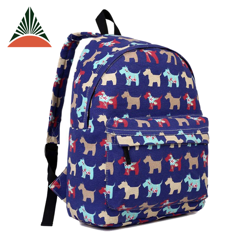 China Wholesale Little Puppy Printing Canvas School Backpack For Girls