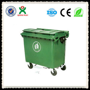 Eco-friendly best selling 120L-660L big large size plastic garbage bin with wheels mobile outdoor/outside garbage bin QX-150D