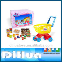 32 Piece Children Plastic Toy Shopping Cart with Food Set