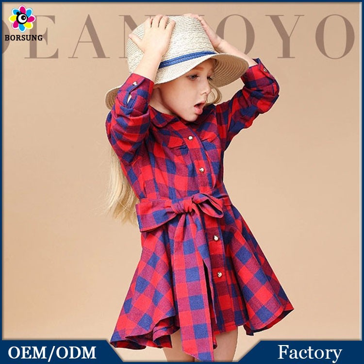 European Fashion Style Spring Little Girls Boutique Dresses Sanding Plaid Long Sleeve Kids Clothes