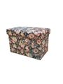Printed Leather Fabric Multiple Colors Square Foldable Storage Stool